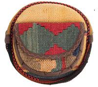 کیف دوشی گرد طرح ترکیب گلیم و جاجیم گالری ماد